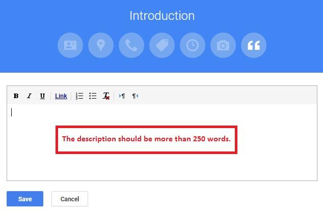busines introduction description Google My Business