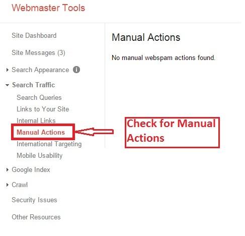 check manual actions Google Webmaster Tools