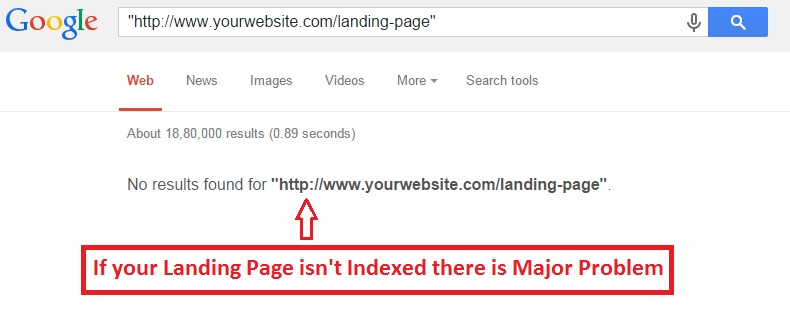 check landing page indexed or not in Google