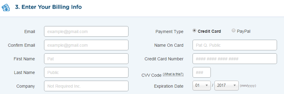Enter Your Payment Billing Information Here