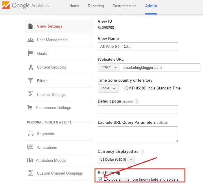 bot and spider filter Google Analytics
