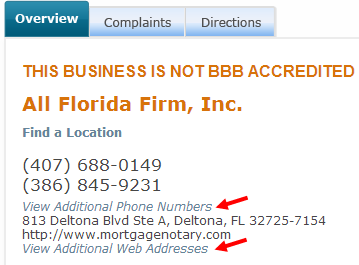 check bbb additional fields for local citations