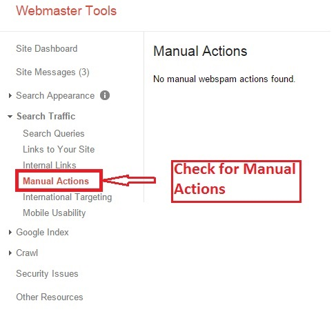 check manual actions Google Webmaster Tools